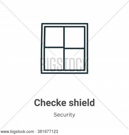 Checkered shield icon isolated on white background from security collection. Checkered shield icon t