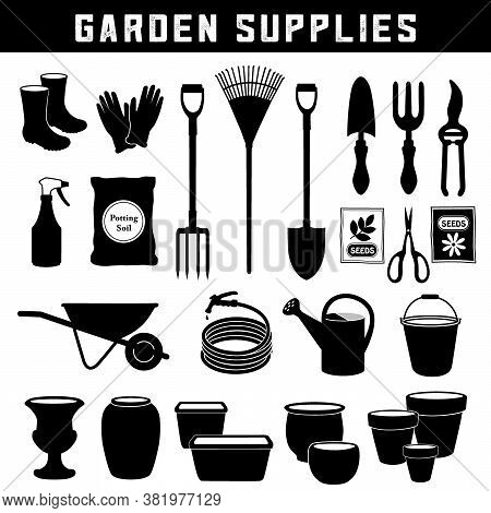 Garden Supplies, Do It Yourself Tools And Supplies For Backyard Gardening, Black Silhouette Icons Is