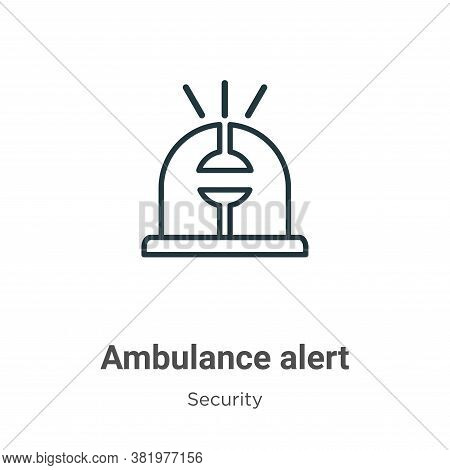 Ambulance alert icon isolated on white background from security collection. Ambulance alert icon tre