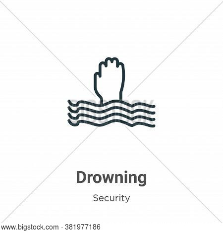 Drowning icon isolated on white background from security collection. Drowning icon trendy and modern