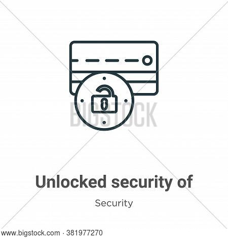 Unlocked security of credit transaction icon isolated on white background from security collection.