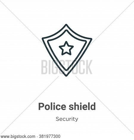 Police shield icon isolated on white background from security collection. Police shield icon trendy