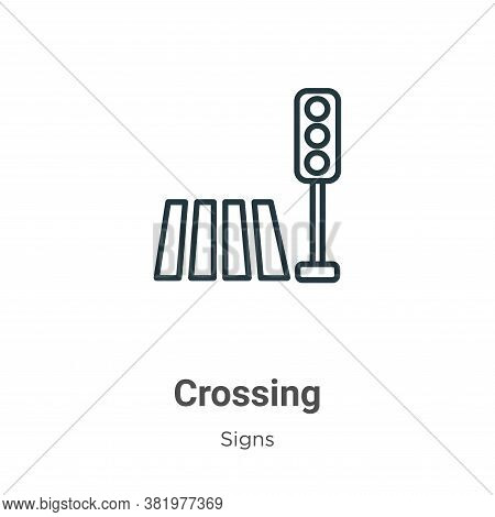 Crossing icon isolated on white background from signs collection. Crossing icon trendy and modern Cr