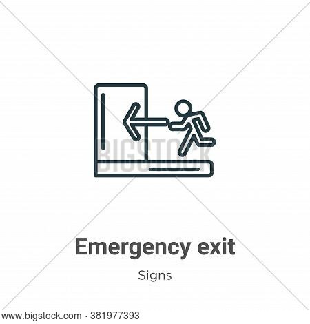 Emergency exit icon isolated on white background from signs collection. Emergency exit icon trendy a