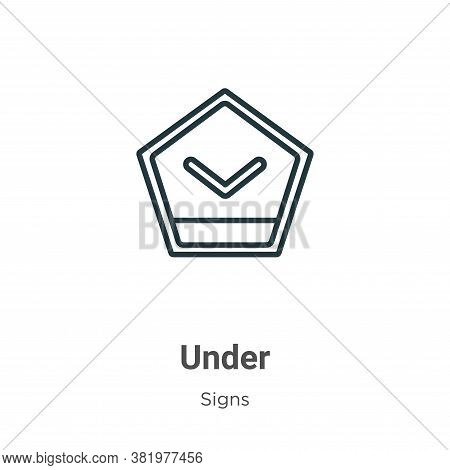 Under icon isolated on white background from signs collection. Under icon trendy and modern Under sy