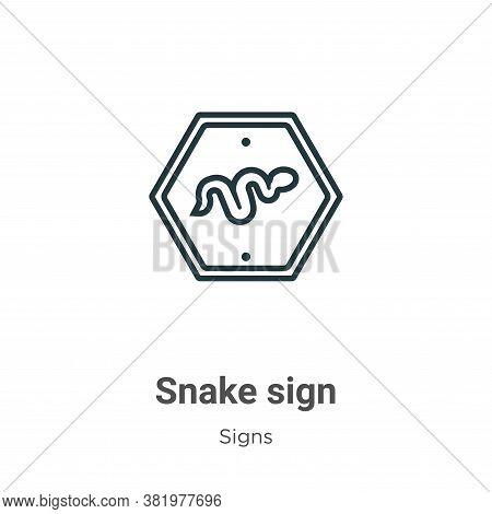 Snake sign icon isolated on white background from signs collection. Snake sign icon trendy and moder