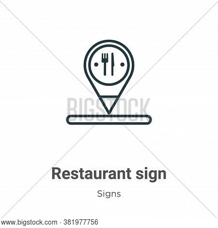 Restaurant sign icon isolated on white background from signs collection. Restaurant sign icon trendy