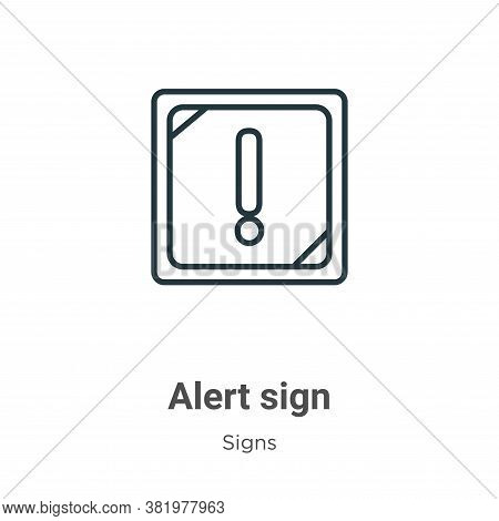 Alert sign icon isolated on white background from signs collection. Alert sign icon trendy and moder