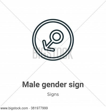 Male gender sign icon isolated on white background from signs collection. Male gender sign icon tren