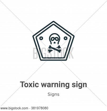 Toxic warning sign icon isolated on white background from signs collection. Toxic warning sign icon