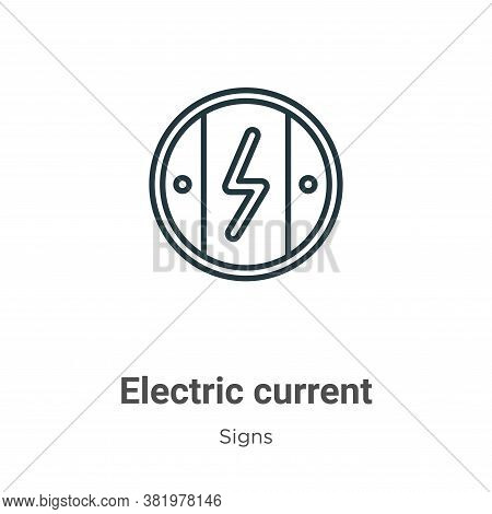 Electric current icon isolated on white background from signs collection. Electric current icon tren