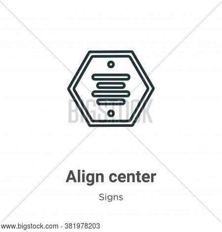 Align center icon isolated on white background from signs collection. Align center icon trendy and m