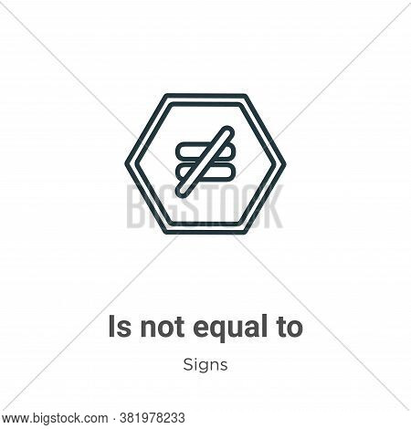 Is not equal to icon isolated on white background from signs collection. Is not equal to icon trendy