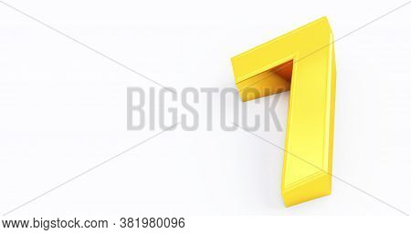 3d Render Of Gold Number 7 Seven Isolated White Background