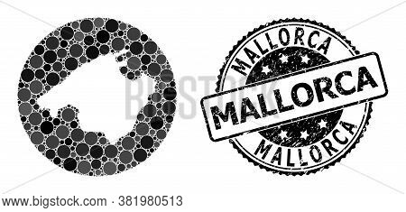 Vector Mosaic Mallorca Map Of Round Dots, And Gray Scratched Stamp. Subtraction Round Mallorca Map C