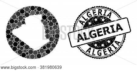Vector Mosaic Map Of Algeria With Round Blots, And Gray Grunge Stamp. Subtraction Circle Map Of Alge