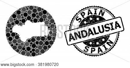 Vector Mosaic Map Of Andalusia Province With Spheric Items, And Grey Watermark Stamp. Hole Circle Ma