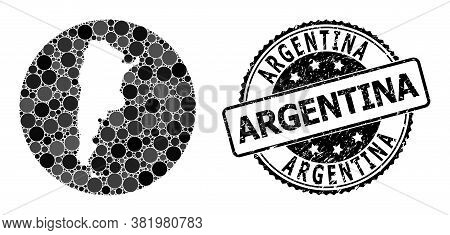 Vector Mosaic Map Of Argentina With Circle Items, And Grey Scratched Stamp. Hole Circle Map Of Argen
