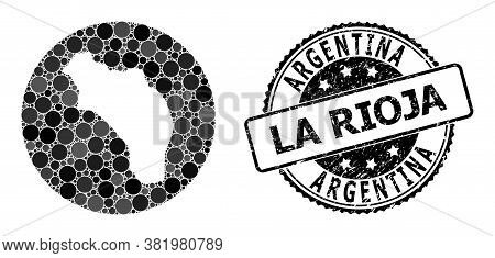 Vector Mosaic Map Of Argentina - La Rioja With Round Dots, And Grey Watermark Seal Stamp. Hole Round