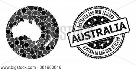 Vector Mosaic Map Of Australia And New Zealand With Spheric Elements, And Grey Grunge Stamp. Hole Ro