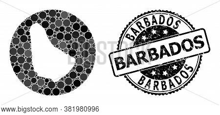 Vector Mosaic Map Of Barbados With Circle Elements, And Grey Scratched Seal. Stencil Round Map Of Ba
