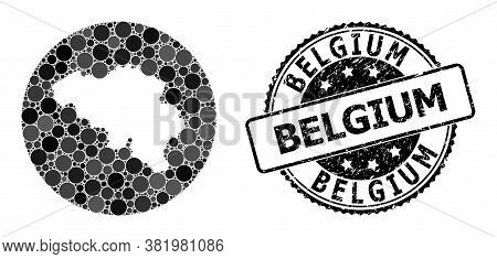 Vector Mosaic Map Of Belgium With Spheric Blots, And Gray Watermark Stamp. Subtraction Round Map Of