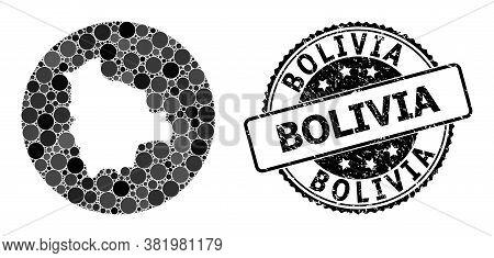 Vector Mosaic Map Of Bolivia With Circle Dots, And Gray Watermark Stamp. Hole Circle Map Of Bolivia