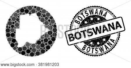 Vector Mosaic Map Of Botswana With Round Spots, And Gray Grunge Seal Stamp. Hole Round Map Of Botswa