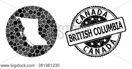 Vector Mosaic Map Of British Columbia Province Of Circle Elements, And Grey Rubber Seal Stamp. Stenc