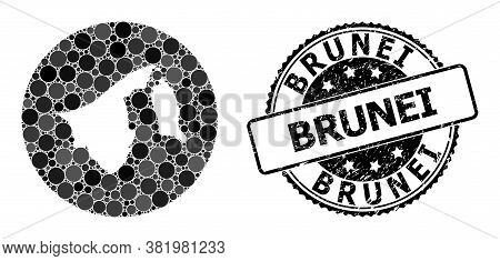 Vector Mosaic Map Of Brunei With Spheric Spots, And Grey Watermark Seal. Hole Circle Map Of Brunei C