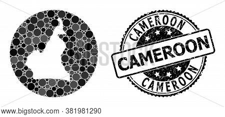 Vector Mosaic Map Of Cameroon With Round Blots, And Gray Scratched Seal. Stencil Circle Map Of Camer