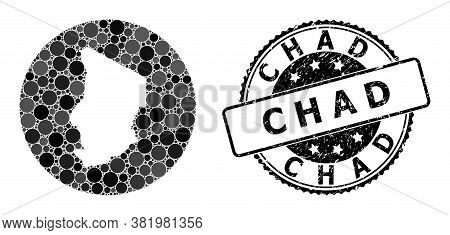 Vector Mosaic Map Of Chad With Circle Elements, And Grey Grunge Seal. Hole Circle Map Of Chad Collag