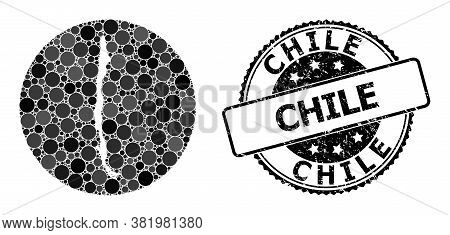 Vector Mosaic Map Of Chile With Spheric Elements, And Grey Rubber Seal Stamp. Stencil Round Map Of C