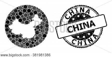 Vector Mosaic Map Of China With Round Items, And Gray Grunge Stamp. Hole Round Map Of China Collage