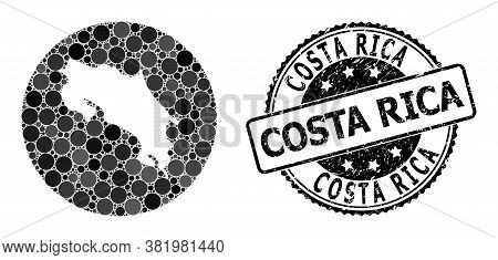 Vector Mosaic Map Of Costa Rica Of Circle Spots, And Gray Scratched Seal. Subtraction Circle Map Of