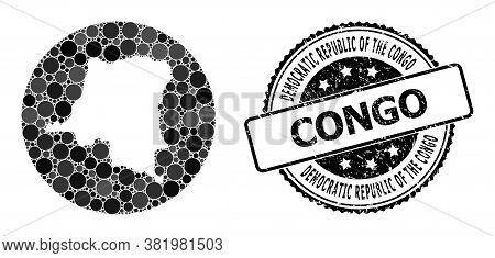 Vector Mosaic Map Of Democratic Republic Of The Congo With Round Dots, And Grey Scratched Seal Stamp