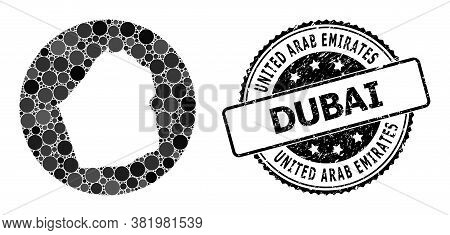 Vector Mosaic Map Of Dubai Emirate Of Round Dots, And Gray Grunge Seal. Subtraction Round Map Of Dub
