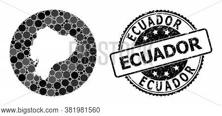 Vector Mosaic Map Of Ecuador With Circle Items, And Grey Rubber Seal. Stencil Circle Map Of Ecuador