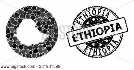 Vector Mosaic Map Of Ethiopia With Circle Elements, And Grey Watermark Stamp. Stencil Circle Map Of