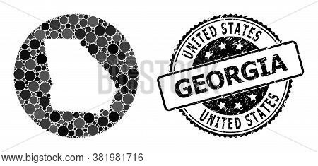 Vector Mosaic Map Of Georgia State From Round Elements, And Grey Rubber Seal Stamp. Subtraction Roun