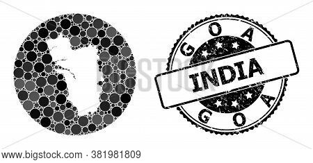 Vector Mosaic Map Of Goa State Of Round Items, And Grey Watermark Seal Stamp. Subtraction Round Map