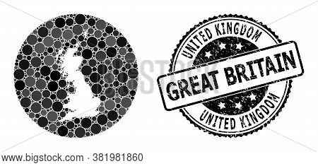 Vector Mosaic Map Of Great Britain Of Spheric Items, And Grey Watermark Seal. Subtraction Circle Map