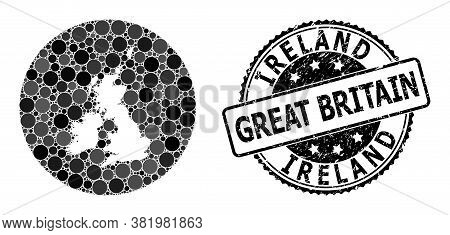 Vector Mosaic Map Of Great Britain And Ireland With Spheric Elements, And Gray Rubber Seal Stamp. Su
