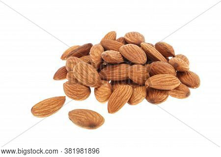 Almond Isolated. Almonds On White Background. Almond Set. Full Depth Of Field.