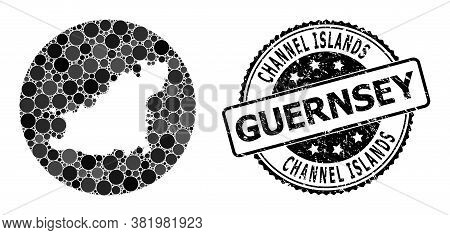Vector Mosaic Map Of Guernsey Island With Round Dots, And Gray Rubber Stamp. Hole Round Map Of Guern