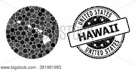 Vector Mosaic Map Of Hawaii State With Round Spots, And Gray Rubber Seal. Subtraction Round Map Of H