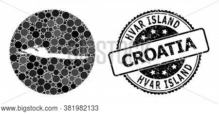 Vector Mosaic Map Of Hvar Island Of Circle Elements, And Grey Scratched Seal. Stencil Round Map Of H