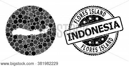 Vector Mosaic Map Of Indonesia - Flores Island With Round Dots, And Grey Grunge Seal. Hole Circle Ma