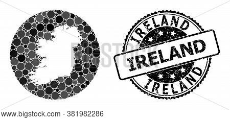 Vector Mosaic Map Of Ireland Island From Round Blots, And Gray Scratched Seal Stamp. Hole Circle Map