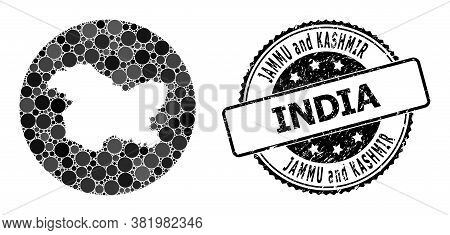 Vector Mosaic Map Of Jammu And Kashmir State With Round Dots, And Grey Watermark Seal Stamp. Subtrac